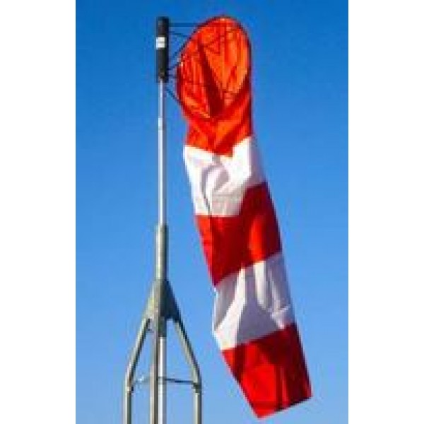 Orange and White Striped Nylon Windsock In Sky Attached to Pole